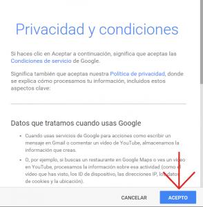 condiciones de servicio gmail